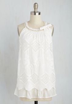 Community Picnic Cutie Top - Mid-length, Woven, White, Paisley, Crochet, Party, Fairytale, Spring, Best, Crew, Halter