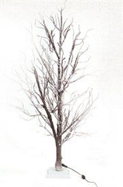 Twig Christmas Tree.  4' LED Lighted Frosted Brown Twig Tree Table Top Decoration - Warm Clear Lights