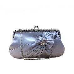 Girls Knot Rhinestone Satin Pleated Clasp Closure Chain Frame Handbag Evening Wedding Proms Clutch-Silver