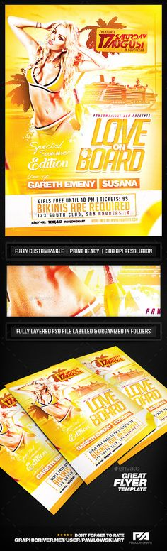 Love on Board Party Flyer Template - Clubs & Parties Events
