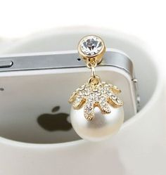Tori pearl flash diamond dust plug headphone plug