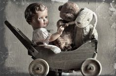 Antique celluloid doll and teddy bears by Julia Valeeva