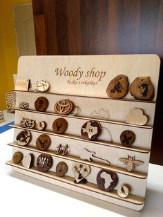 This listing is for wooden jewelry stand with your engraved logo or name. This is very nice gift for your shop!!!  * Item details: Height: 33,5 cm ( 13.1 Inches) Width: 40 cm (15.7 Inches) Size between shelves: 5 cm ( 1.9 Inches) Shelf width: 3cm ( 1.1 Inches):