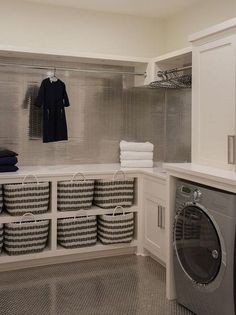 40 Inspiring Laundry Room Design Ideas that Will Make You Impressed modern farmhouse laundry room with laundry room organization, laundry room storage, neutral laundry room with open shelves Laundry Room Tile, Tiny Laundry Rooms, Laundry Room Remodel, Laundry Room Cabinets, Laundry Room Organization, Laundry Storage, Storage Room, Closet Storage, Storage Ideas