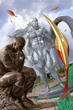 AVENGERS AS CLASSICAL STATUES -  Part of Marvel Comic's art appreciation Month!