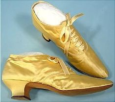 c. 1894 ROBITSEKS VIENNESE Yellow Satin Evening Shoes AntiqueDress.com - Museum items for Sale