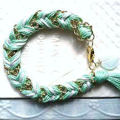 Chevron Braided Modern Friendship Bracelet - Ice Grey & Mint $24 #Jewelry #Gold