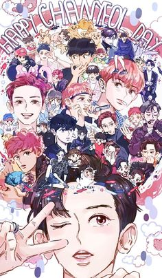 Image about fanart exo in exo = art 🖌 by 아마치 on We Heart It Park Chanyeol, Chanyeol Baekhyun, Kpop Exo, Chibi Exo, Bts E Got7, Exo Fanart, Chanbaek Fanart, Exo Cartoon, Exo Anime