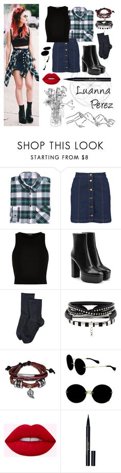 """Luanna Perez #1"" by xxstar-childxx ❤ liked on Polyvore featuring H&M, Boohoo, River Island, Alexander Wang, Wolford, Bling Jewelry, Miu Miu and Stila"