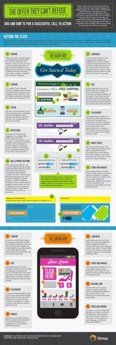 Welche Aspekte sollten bei der Gestaltung der Call to Action berücksichtigt werden? Mit welchen Farben, Texten und Platzierungen lässt sich die Conversion Rate erhöhen?    Der E-Mail Marketing Analytics Anbieter Litmus hat einige Best Practices zu diesem Thema in einer Infografik zusammengestellt.
