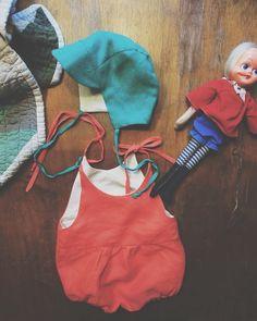 Penny's Garden Set. Linen baby romper, baby sun hat/cap