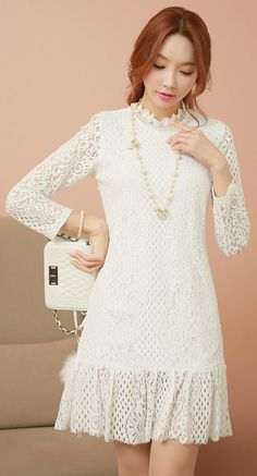 StyleOnme_Floral Crochet Lace Flounced Dress #white #floral #flower #lace #dress #koreanfashion #feminine #girly #kstyle #seoul #dailylook #kfashion #trendy