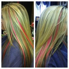 full blonde foil with pink for breast cancer :)