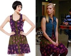 Brittany S Pierce's dress from Glee's 2x15. Add long or medium sleeves. Also, the vest!