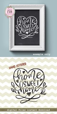 Home sweet home hand lettered love beautiful home decor idea digital cut files SVG DXF for cricut silhouette cameo vinyl decals by LoveRiaCharlotte on Etsy Perfumes Vintage, Sweet Home, Diy Cutting Board, Creation Deco, Silhouette Cameo Projects, Trendy Home, Chalkboard Art, Vinyl Projects, Unique Home Decor