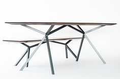 #ChristianKroepfl | #RedDot 21 | #palatti series | #KT11 | table & banquette | tops american nut - oiled | frames - lacquered steel