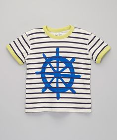 Look at this Soft Clothing White & Blue Nautical Stripe Wheel Organic Tee - Toddler & Boys on #zulily today!
