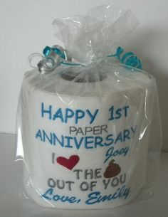 Persoanlized, Custom made Embroidered 1st Anniversary Toilet paper.