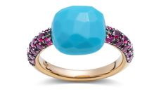 Pomellato ring with rose gold, turquoise and rubies...love it
