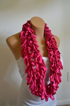 Tshirt Scarf Necklace pink ribcage shred festival by reduxworkshop