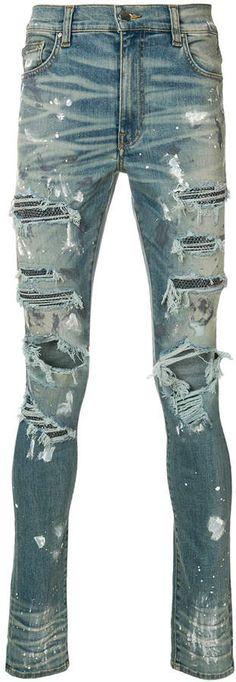 92fd79c39f531 Amiri Distressed And Stud Detail Skinny Jeans - Farfetch. Fashion Advisor ·  Mens Trends · Denim Fashion ...