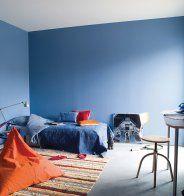 Une chambre bleue et bohème  - Marie Claire Maison
