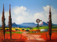 Pieter van Heerden - Abstract Landscape 1 x Watercolor Landscape Paintings, Abstract Landscape, Watercolour, Windmill Art, Canvas Painting Projects, South African Artists, Art Walk, Naive Art, Mixed Media Art