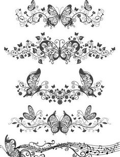 Floral and Butterfly Patterns - Free Vector Art