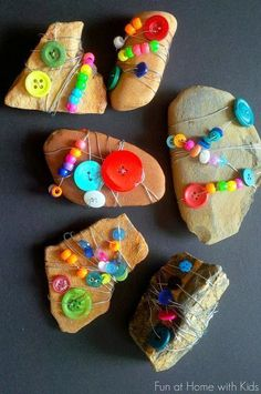 Nature Craft: Wire-Wrapped Rocks Nature Craft: Wire-Wrapped Rocks art activities for kids Rock Crafts, Crafts For Kids, Arts And Crafts, Kids Diy, Kids Nature Crafts, Projects For Kids, Art Projects, Camping Crafts, Preschool Art