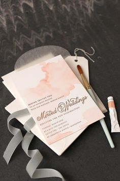 DIY Watercolored Letterpress Invites -- doesn't need to be for weddings. I, for example, am imagining these for my next Anne of Green Gables tea party... :)