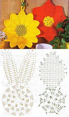 The Effective Pictures We Offer You About topflappen stricken muster A quality picture can tell you Crochet Edging Patterns, Crochet Mandala Pattern, Crochet Diagram, Crochet Chart, Crochet Squares, Crochet Kitchen, Crochet Home, Irish Crochet, Diy Crochet