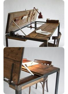 Manoteca is a line of one-off furniture from a Bologna, Italy-based designer Elisa - one of a kind wooden desk with pouches, folds, and Reclaimed Furniture, Repurposed Furniture, Refinished Furniture, Industrial Furniture, Vintage Industrial, Repurposed Doors, Design Industrial, Modern Industrial, Table Furniture