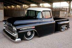 Black 1959 Chevrolet Apache step-side lowered