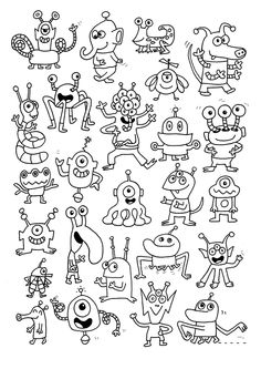 Coloriage plein d extraterrestres Colouring Pages, Coloring Sheets, Adult Coloring, Coloring Books, Monster Coloring Pages, Doodle Monster, Monster Art, Doodle Drawings, Doodle Art