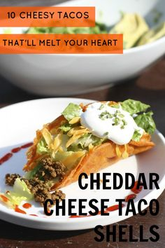 """Give your #tacos the ultimate cheesy boost with these cheddar cheese taco shells. They're literally just made of melted, slightly browned cheese. Can you say """"heaven""""? #tacorecipes #recipes"""