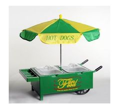 HOT DOG Cart Table-Top Vintage Catering Steamer Green Old Fashioned Umbrella  #FunFood