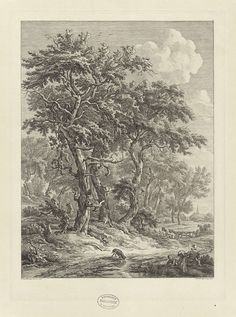 Hendrik Schwegman | Landschap bij Zuidlaren, Hendrik Schwegman, 1771 - 1816 | Gezicht op het landschap bij Zuidlaren in Drenthe, waar een vrouw met haar kind op de grond zit en een hond uit een plas drinkt. Op de achtergrond een boerderij en kerktoren.