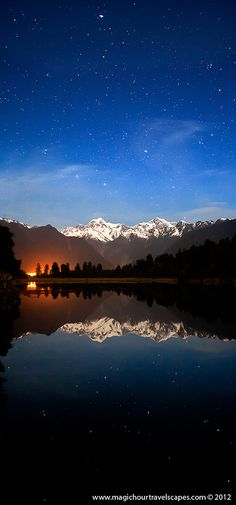 Leave a Light On For Me ~ Lake Matheson, a full moon illuminates the peaks of Mount Cook and Mount Tasman, New Zealand by Kah Kit Yoong~~ All Nature, Amazing Nature, Places To Travel, Places To See, Beautiful World, Beautiful Places, Photos Voyages, To Infinity And Beyond, Belle Photo