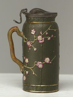 Antique Staffordshire Pitcher Chinese Chippendale ( Choissong )style with lid.