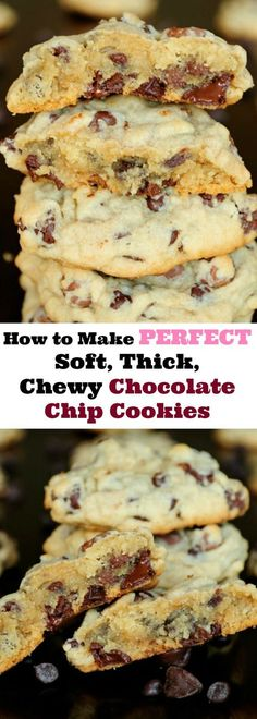 Have you ever wondered How to Make Soft, Thick, Chewy Chocolate Chip Cookies? I am sharing my tips for the best chocolate chip cookies ever, and showing you how easy they are to make! Chewy Candy, Chewy Chocolate Chip Cookies, Best Thick Chocolate Chip Cookie Recipe, Chocolate Chips, White Chocolate, Baking Recipes, Cookie Recipes, Dessert Recipes, Cookie Tips