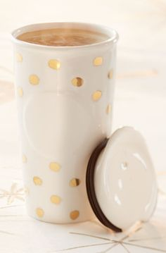Beautiful gold dot Starbucks traveler mug http://rstyle.me/ad/ukfpinyg6