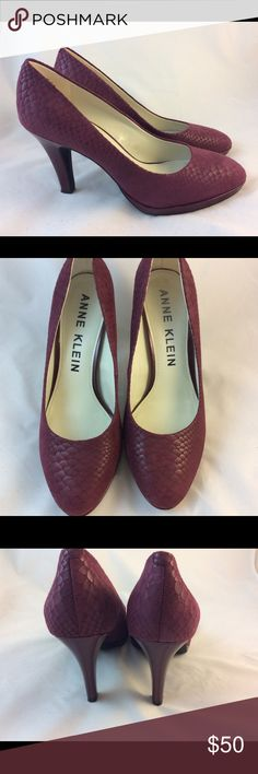 Anne Klein Heels EUC I wore once but my heel kept slipping otherwise very comfortable. It is a true 9. Color is burgundy. Beautiful snakeskin look with patent leather platform and heels. Only sign is wear is heel tip as shown in photograph. Will come in box with original packing. Offers welcomed. Anne Klein Shoes Heels