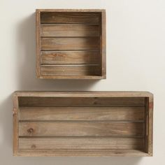 With their open slat wood construction and cutout handles, our rustic wall units have all the warmth and charm of the apple crates that inspired them. Hang them individually or group several together for a customized storage solution.