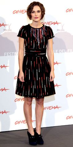 Keira Knightley paired a colorful abstract Chanel design with black bootie