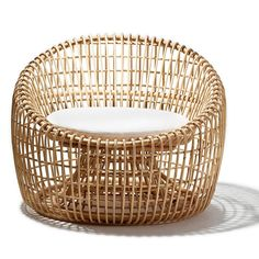 Handwoven of sustainable natural rattan, Cane-lines Nest Chair is another example of their beautifully sculptural, beautifully functional furniture. Light in weight and easy to move around, we love it in a sunroom, or covered porch. Cushion included.