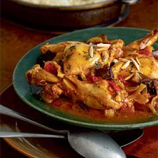 Moroccan Chicken with Eggplant, Tomatoes, and Almonds Recipe