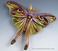 """Marvelous Moth""  #christiFriesen  #polymer.  http://www.christifriesen.com/"