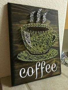 10x12 coffee cup string art.