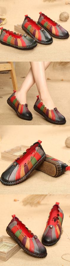 US$45.17 Socofy Rainbow Weave Leather Soft Flat Vintage Loafers