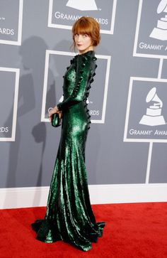 Florence Welch in emerald Givenchy at the 2013 Grammy's - wow! Daring. You go girl.